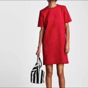 Zara red suede dress